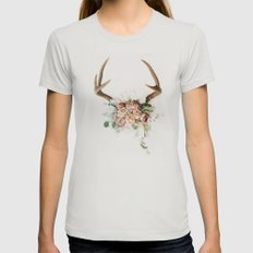 Floral Antlers V Womens Fitted Tee Silver SMALL