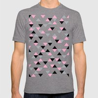 Triangles Black And Pink Mens Fitted Tee Tri-Grey SMALL