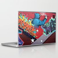 graffiti Laptop & iPad Skins featuring graffiti by mark ashkenazi