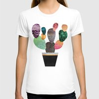 Pretty Cactus Womens Fitted Tee White SMALL