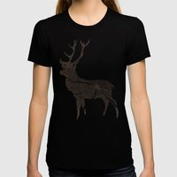 Wood Grain Stag Womens Fitted Tee Black SMALL