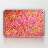 Hot Pink and Gold Baroque Floral Pattern Laptop & iPad Skin