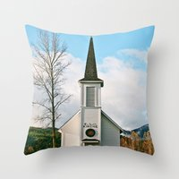 Country Church in the Mountians Throw Pillow