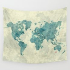 World Map Blue Vintage Wall Tapestry