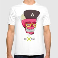 Hell Yeah Skull 2 Mens Fitted Tee White SMALL
