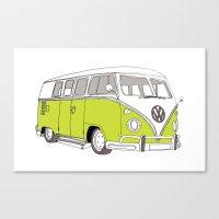 Green Volkswagen Camper Van (Landscape) (Kombi // VW) Canvas Print
