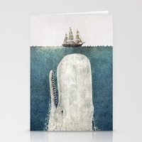 typography Stationery Cards featuring The Whale - vintage  by Terry Fan