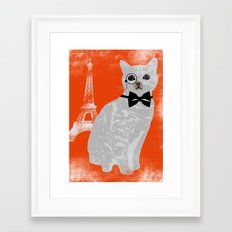Wise cat with bow and tie Framed Art Print