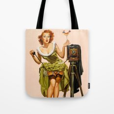 Vintage Camera Pinup girl  Tote Bag