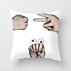 Rock, Scissors, Hanz Throw Pillow
