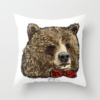 Bow Tie Bear Throw Pillow