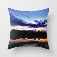 Sunset on Alum Creek Galena, Oh. Throw Pillow