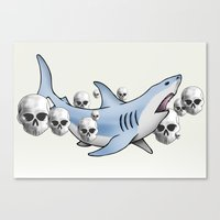 Shark & Skulls Canvas Print