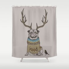 Deer Pug Shower Curtain