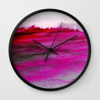 Purple Clouds Red Mountain Wall Clock