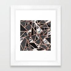 Modern Rose Gold Glitter Marble Geometric Triangle Framed Art Print