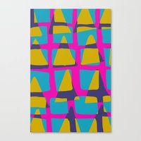 80s triangles and checks Canvas Print