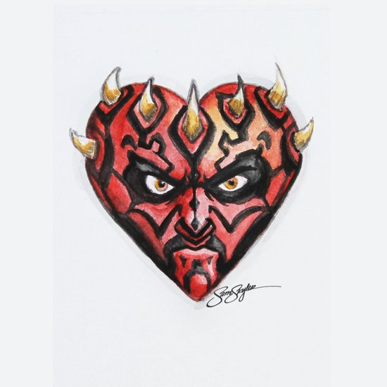 Darth Maul Star Wars Heart Art Print