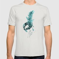 Feather Lady Mens Fitted Tee Silver SMALL