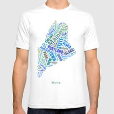 Word Cloud - Maine Mens Fitted Tee White SMALL