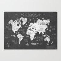The World Map B/W Canvas Print