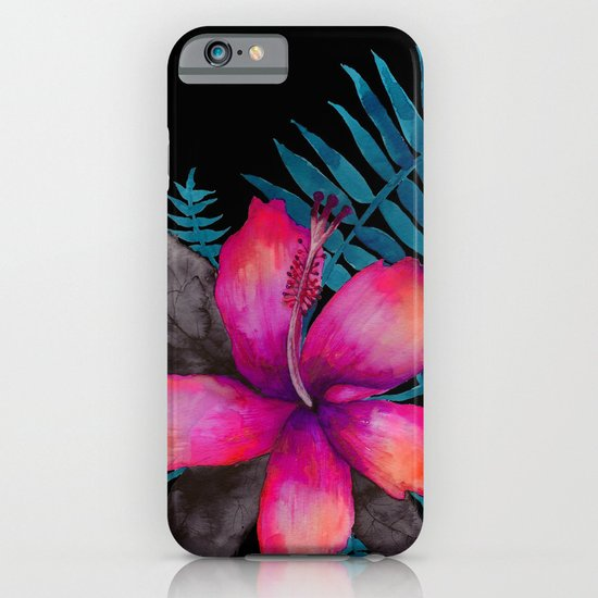 Pink Hibiscus Flower - BLACK iPhone & iPod Case