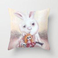 Ester and Bunny Throw Pillow