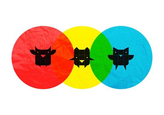 Technicolor Owls Art Print
