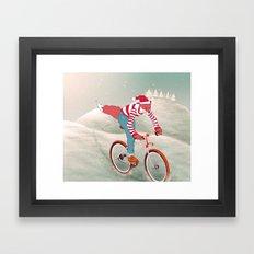rushing home for christmas Framed Art Print
