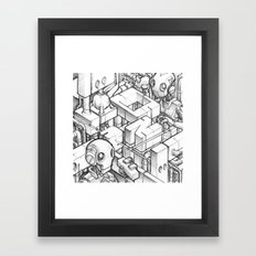 Robots playing sketch Framed Art Print