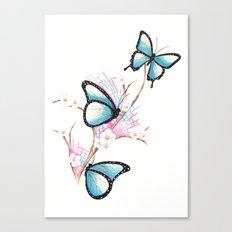 Watercolour Butterflies on Apple Blossom Canvas Print