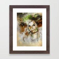 Girl with Green Hair Framed Art Print