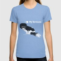 I Love My Havanese Womens Fitted Tee Tri-Blue SMALL