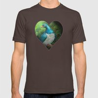 NZ Native Pigeon Kereru Mens Fitted Tee Brown SMALL