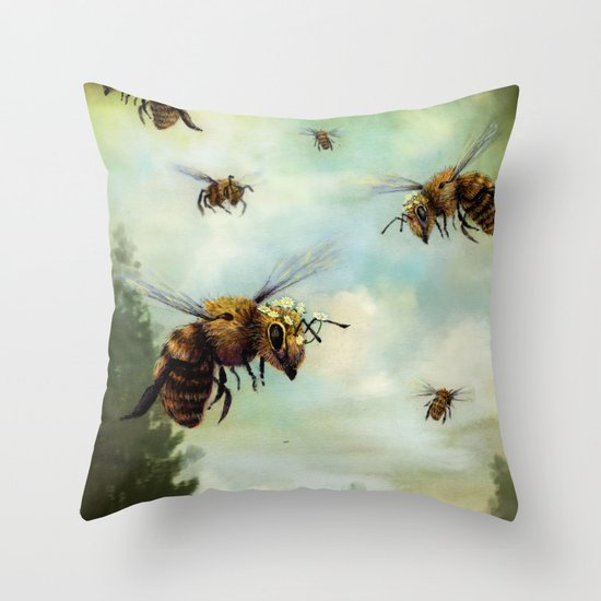 Crown of Bees Throw Pillow