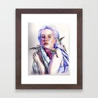 Girl with the Hummingbirds Framed Art Print