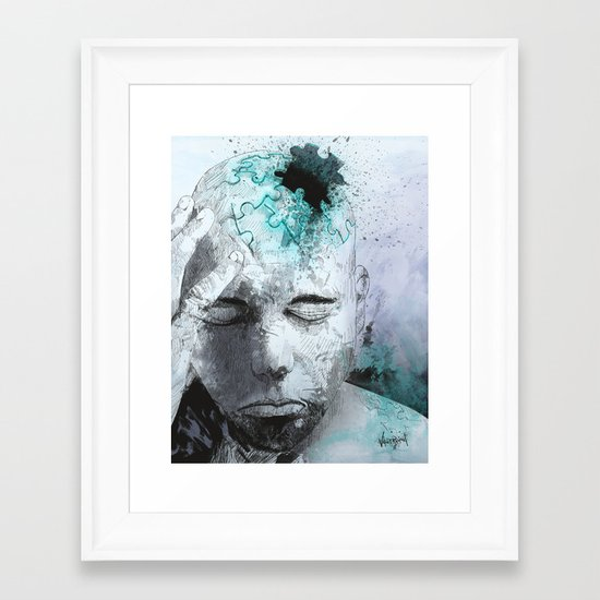 Puzzled Framed Art Print