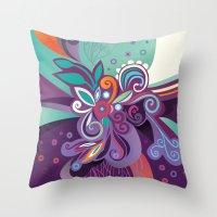 Floral Curves Of Joy Throw Pillow