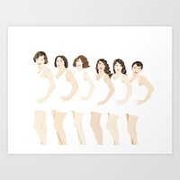 Women in White Bathing Suits Art Print