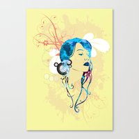 retro woman vector Canvas Print
