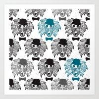Hipster Baboon Monkey Ma… Art Print
