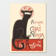 A French Ninja Cat (Le C… Canvas Print
