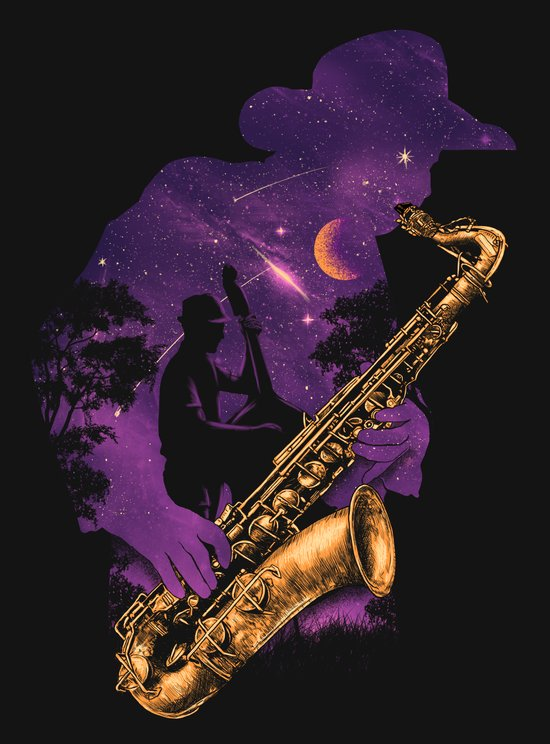 Jazz Moment at night Art Print