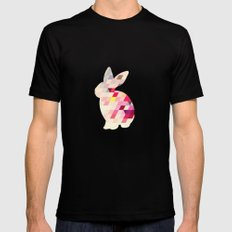 Bunny Pattern SMALL Mens Fitted Tee Black