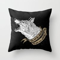 Wolf Protector (Black N … Throw Pillow