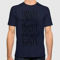 Wanderlust - Hand Lettering Mens Fitted Tee Navy SMALL