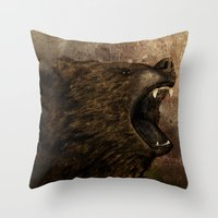 The Grizzly Throw Pillow