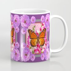 Puce-Purple-Pink Floral Monarch Butterfly Abstract Mug