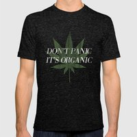 Don't Panic it's Organic Vintage Potleaf Print Mens Fitted Tee Tri-Black SMALL