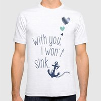 With You I Wont Sink Mens Fitted Tee Ash Grey SMALL